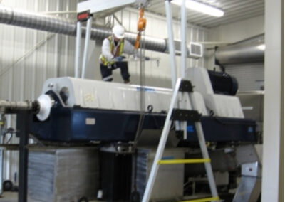 11000R eme aluminum Gantry Crane performing maintenance in wastewater facility